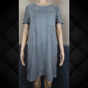 Allen B. Grey Faux Suede Dress Size Large